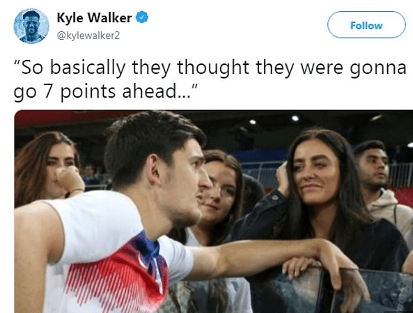 The tweet Kyle Walker deleted following Liverpool's draw with Leicester