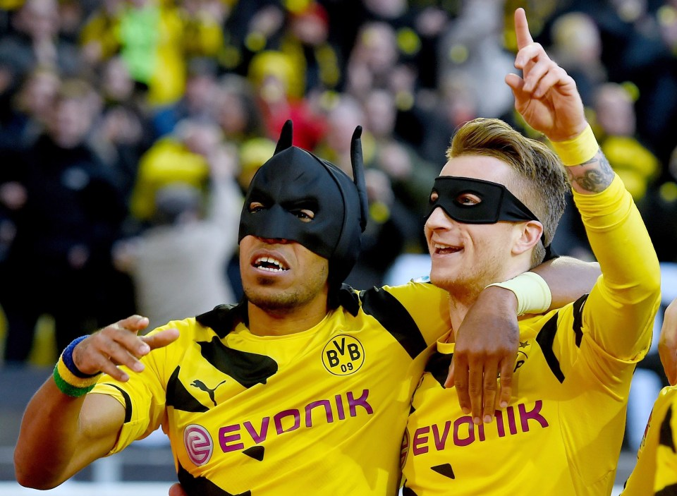 Aubameyang and Marco Reus as Batman and Robin in 2015