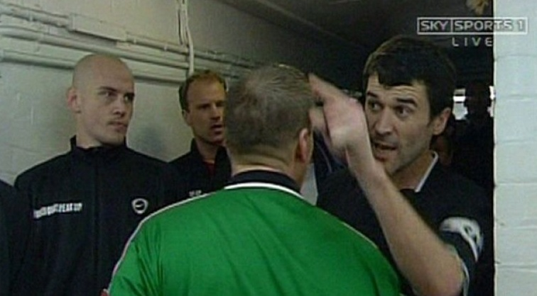 Keane made an exception to Vieira trying to intimidate Gary Neville in the tunnel and he said angry with him 'I'll see you out there;