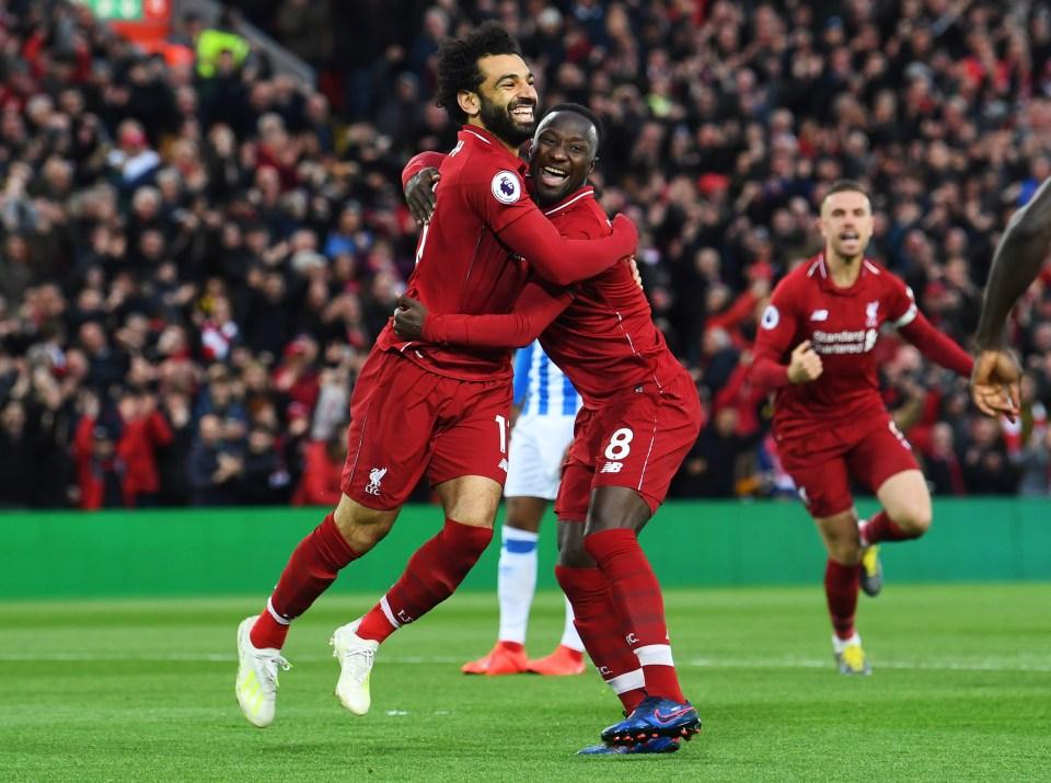 Naby Keita celebrates scoring Liverpool's quickest-ever Premier League goal