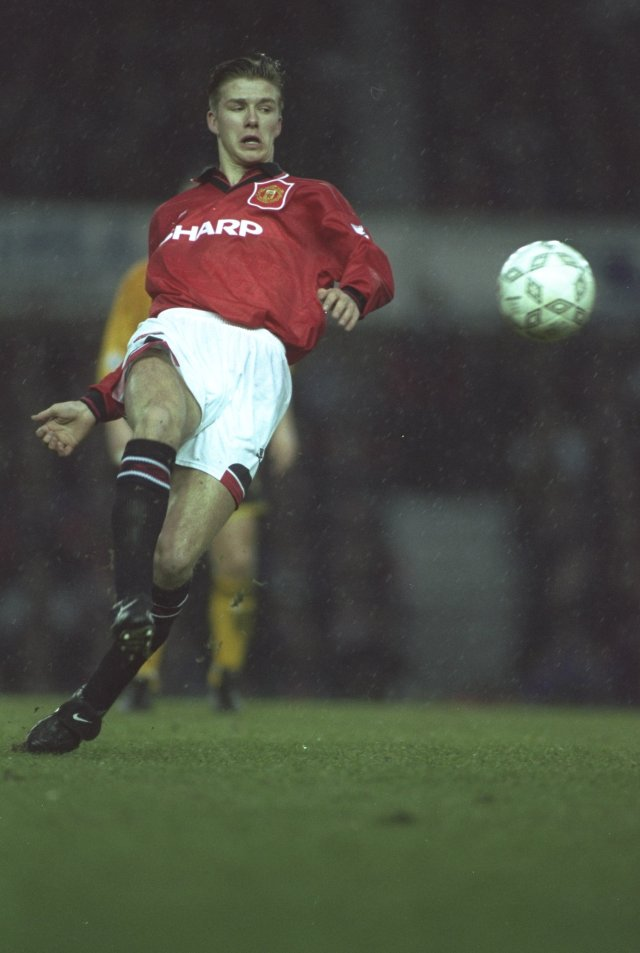 David Beckham in action for Manchester United in January 1995, shortly before joining Preston on loan