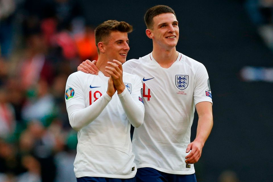 Latest Sports News: Best mates Mason Mount, left, and Declan Rice are set to start together in England's midfield for the first time
