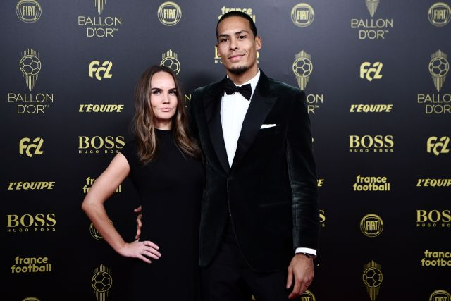 Van Dijk poses with his girlfriend at the Ballon d'Or awards
