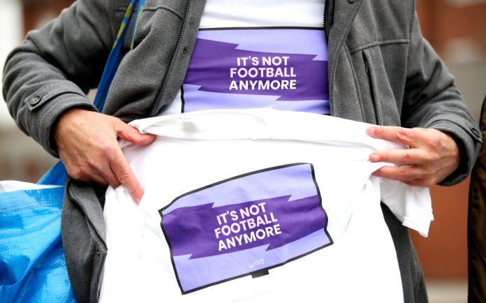 Anti-VAR t-shirts were sold outside Selhurst Park