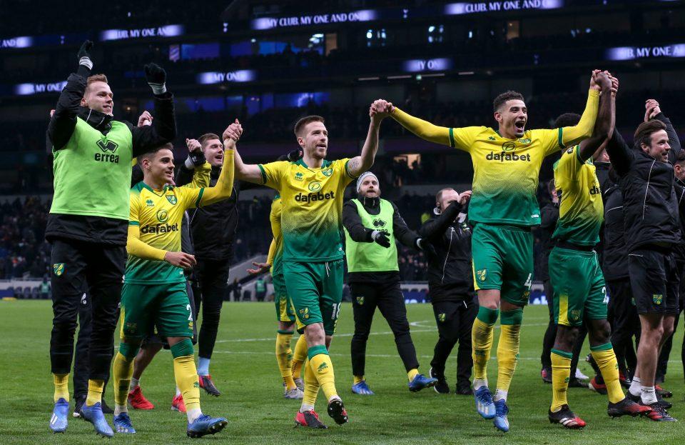 Norwich celebrates victory over Premier League rivals Tottenham