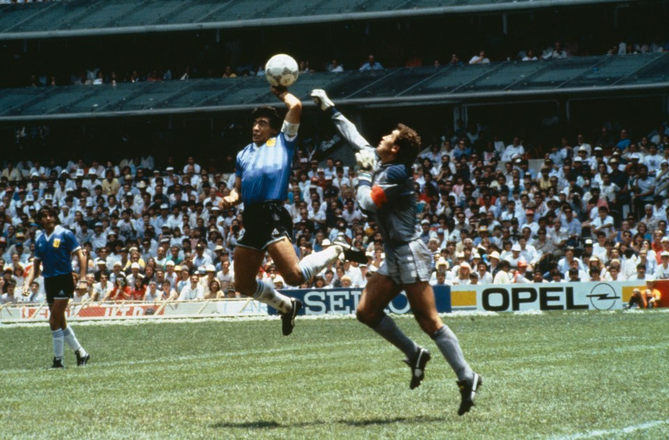 Maradona scored two of the most famous goals of all time against England in the 1986 World Cup - including the infamous Hand of God