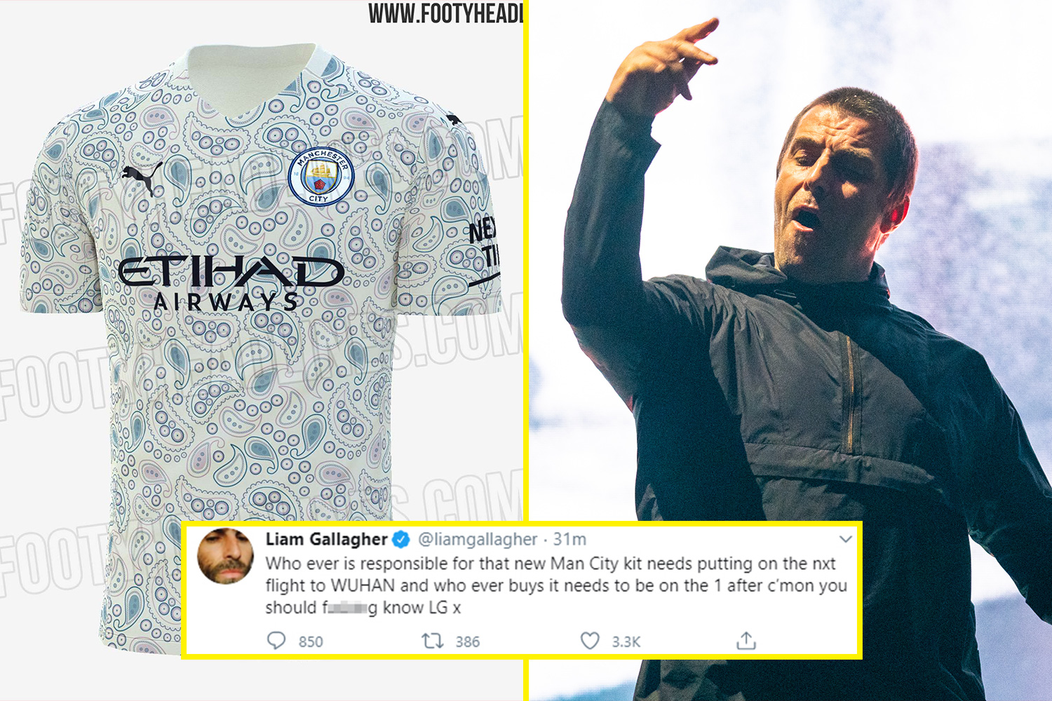Manchester City's third kit for 2020/21 season leaked and superfan Liam Gallagher hates it thumbnail
