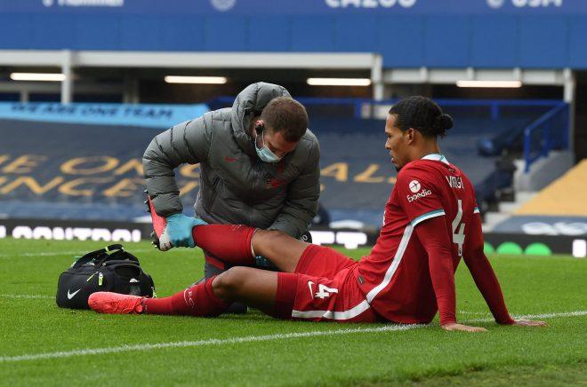 Liverpool provide Virgil van Dijk injury update as centre-back undergoes 'successful' knee surgery following collision with Jordan Pickford against Everton