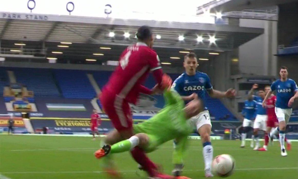 Why Jordan Pickford escaped red card despite SHOCKING tackle which injured  Liverpool star Virgil van Dijk in Merseyside derby vs Everton