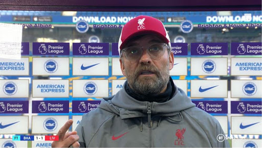Klopp was clearly frustrated after Saturday's draw with Brighton