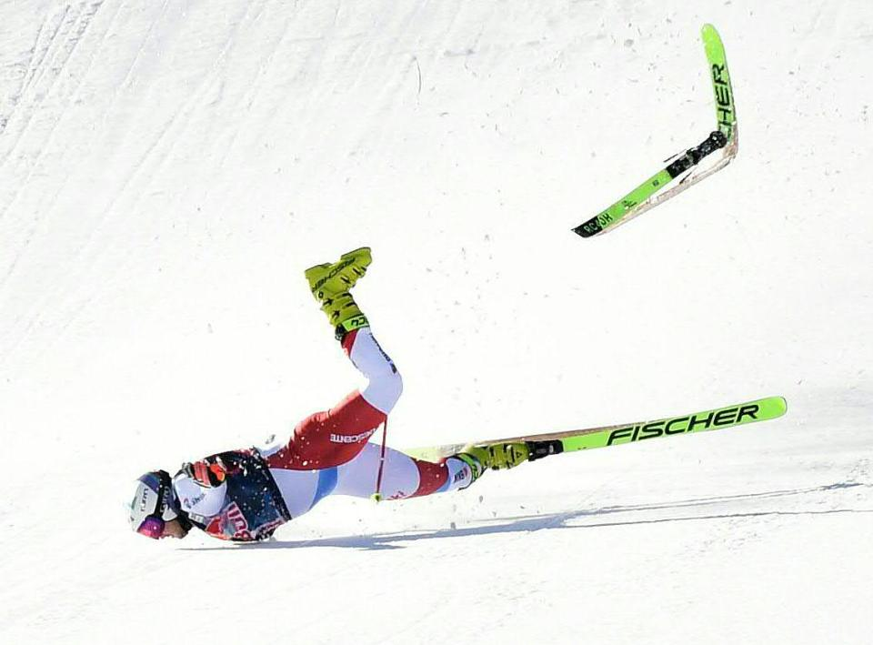 Kryenbuehl's skis flew due to the force of the impact