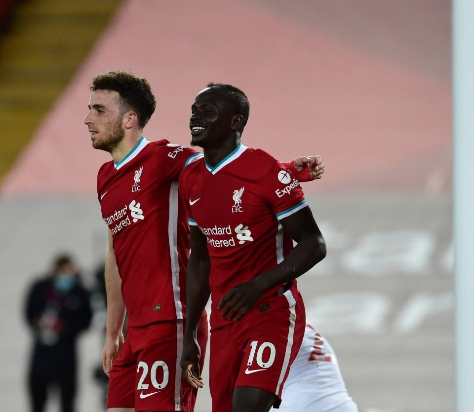 Mane celebrates with Diogo Jota after scoring his goal