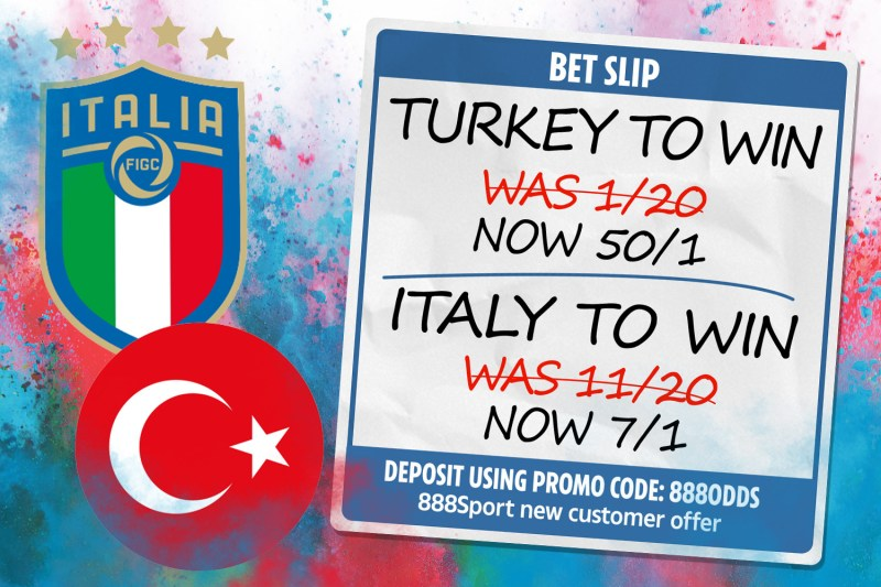 888 Sport special: Get Turkey at 50/1 or Italy at 7/1 to win Euro 2020 opener