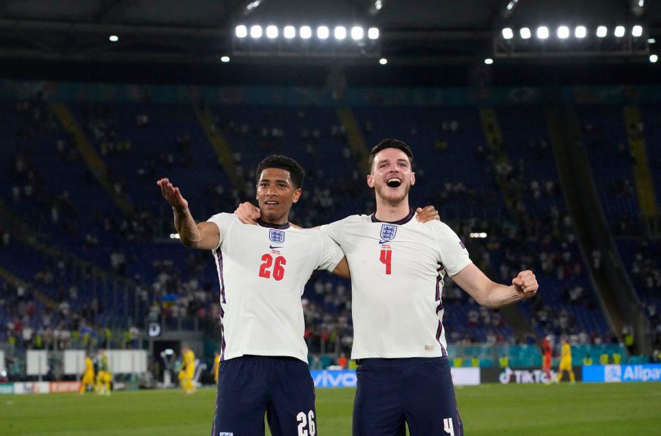 Bellingham celebrated the win alongside teammate Declan Rice in Rome
