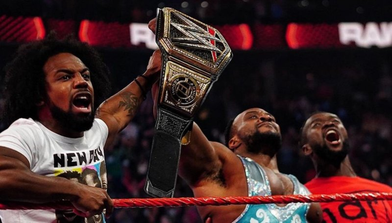 Big E celebrated his title win with his New Day brothers