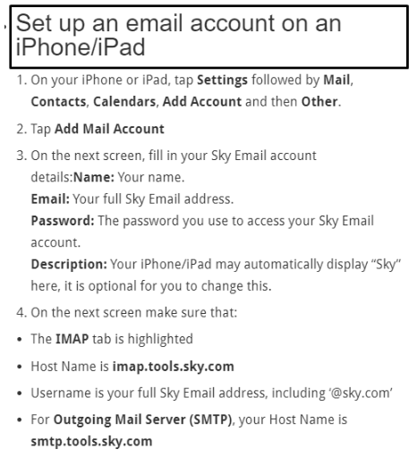 Sky email settings