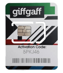 A working Giffgaff sim card.