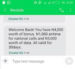 9mobile Welcome Back Bonus of 2GB Data and N5,000 Airtime