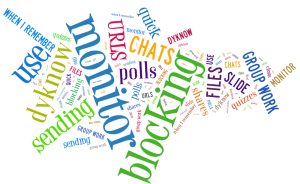 Word cloud of teachers' pre-survey respopnses about what features they currently use in DyKnow