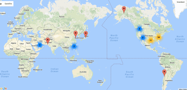 a map of the founding Blogging Buddies