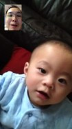 Ashton is becoming better at looking at me through FaceTime.