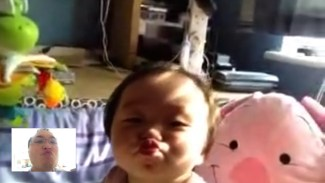 Still kissy kissy daddy over FaceTime.