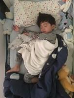 This is how Ashton sleeps.