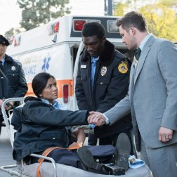 """TIMELESS -- """"The Day Reagan Was Shot"""" Episode 208 -- Pictured: (l-r) Karen David as Young Denise Christopher, Matt Lanter as Wyatt Logan -- (Photo by: Colleen Hayes/NBC)"""