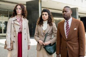 "TIMELESS -- ""The Day Reagan Was Shot"" Episode 208 -- Pictured: (l-r) Abigail Spencer as Lucy Preston, Claudia Doumit as Jiya, Malcolm Barrett as Rufus Carlin -- (Photo by: Colleen Hayes/NBC)"