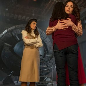 "TIMELESS -- ""The Day Reagan Was Shot"" Episode 208 -- Pictured: (l-r) Claudia Doumit as Jiya, Abigail Spencer as Lucy Preston, Sakina Jaffery as Denise Christopher -- (Photo by: Ron Batzdorff/NBC)"