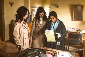"TIMELESS -- ""The Day Reagan Was Shot"" Episode 208 -- Pictured: (l-r) Abigail Spencer as Lucy Preston, Claudia Doumit as Jiya, Karen David as Young Denise Christopher -- (Photo by: Ron Batzdorff/NBC)"
