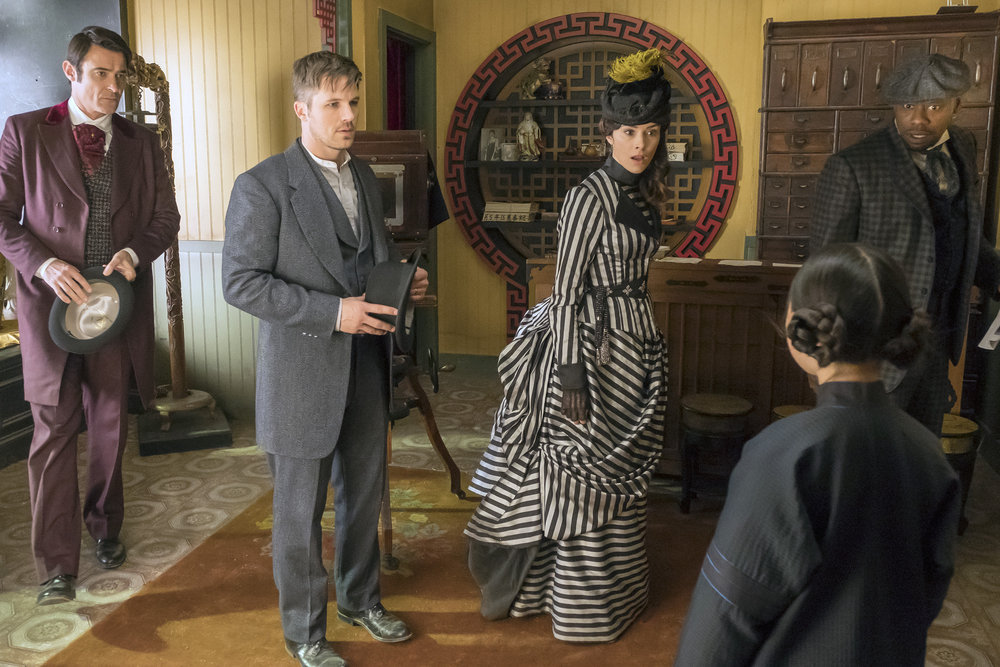 "TIMELESS -- ""A History of San Fran"" Episode 210 -- Pictured: (l-r) Goran Visnjic as Garcia Flynn, Matt Lanter as Wyatt Logan, Abigail Spencer as Lucy Preston, Megan Liu as Fei Yunshan, Malcolm Barrett As Rufus Carlin -- (Photo by: Ron Batzdorff/NBC)"