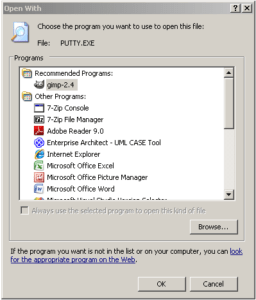 Windows doesn´t work as it used to after I associated the .exe-extension to putty.exe...