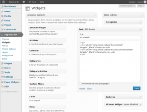 Adding a WordPress RSS Feed using a Text Widget