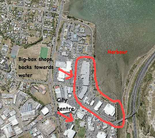 A satellite photo of Lower Hutt