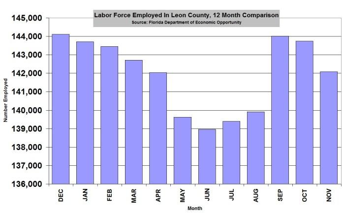 Leon County Employment Falls in November