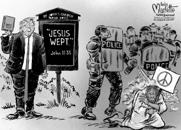 Tallahassee Democrat Political Cartoon Shows Police Officer Gassing Jesus Tallahassee Reports