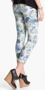 blue tropical capri pants