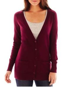tall burgundy cardigan