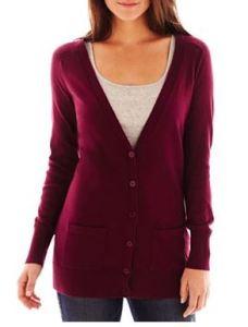 tall burgundy cardigan
