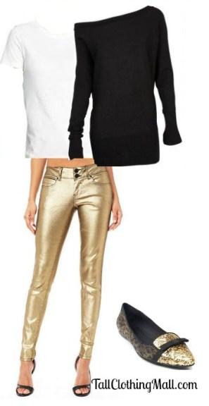 tall metallic jeans
