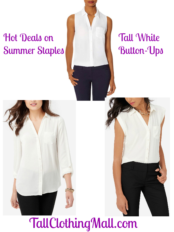 Hot Deals on Summer Staples: Tall White Button-Up Shirts