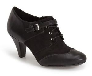 black booties with a heel
