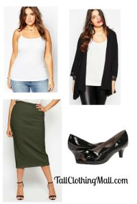 tall plus size midi skirt and outift