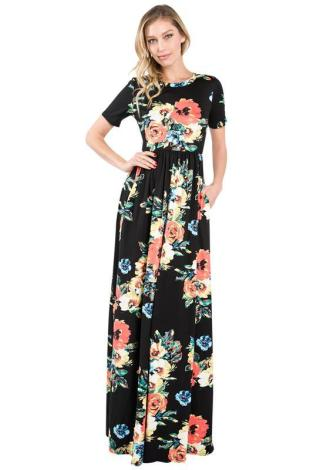tall maxi dress black floral