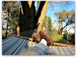 feet up relaxing in the hammock