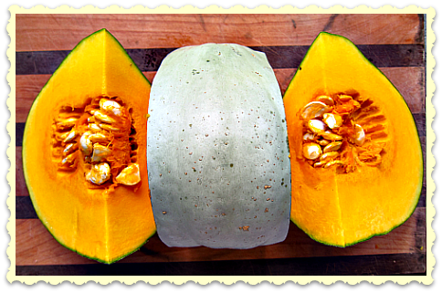 sweet meat squash ready for pumpkin soup