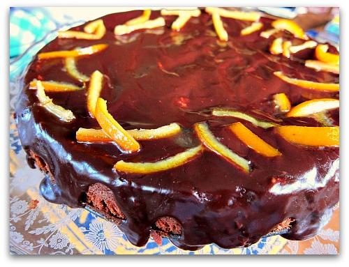 chocolate orange torte cake plate