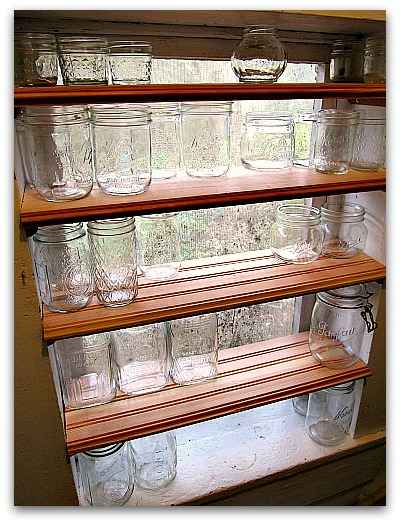 storage solutions - canning shelves DIY jars