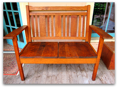 arts and crafts two seater bench